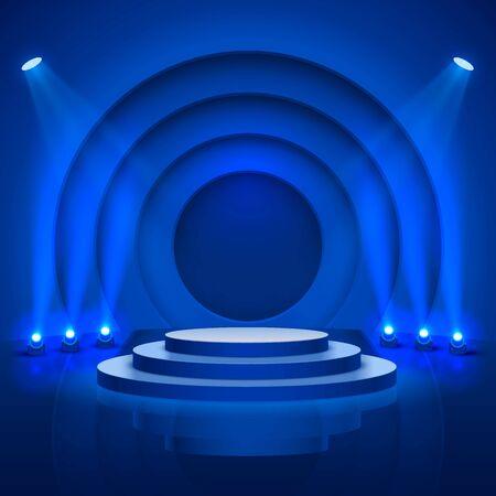 Podium de scène avec éclairage, scène de podium avec pour cérémonie de remise des prix sur fond bleu, illustration vectorielle