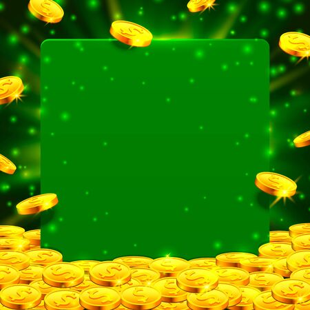 Falling from the top a lot of coins on a green background. Vector illustration