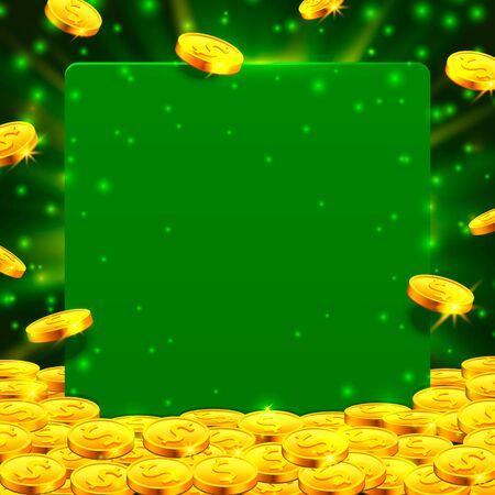 Von oben fallen viele Münzen auf grünem Hintergrund. Vektor-Illustration Vektorgrafik