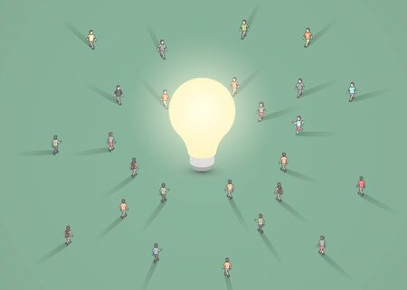 A group of people walking to a light bulb. Brainstorm, inspiration, idea business concept. Vector illustration