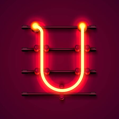 Neon font letter U, art design signboard. Vector illustration
