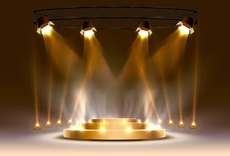 The gold podium is winner or popular on the light background. Vector illustration 向量圖像