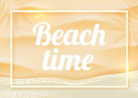 Beach sand on ocean coast sea azure wave with bubble. Tropical travel, summer vacation holiday paradise resort background template. Vector realistic illustration. Illustration