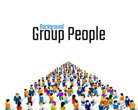 Large group of people in the shape of a grossing arrow, Way to success bussiness concept. Vector illustration