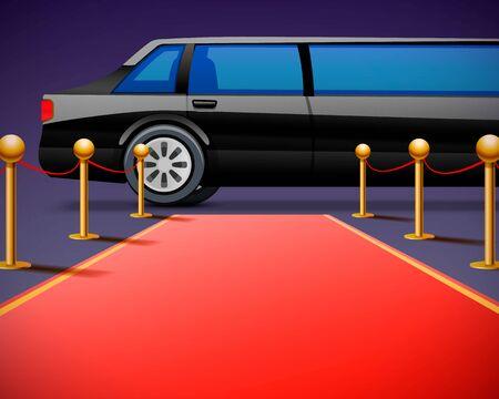 Roter Event-Teppich auf schwarzem Hintergrund isoliert. Vektor-Illustration