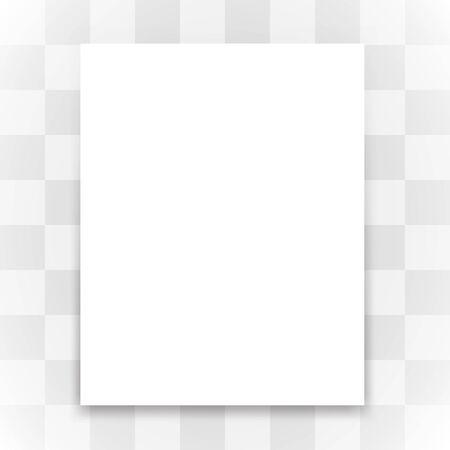 Blank white paper on transparent background. Vector illustration.