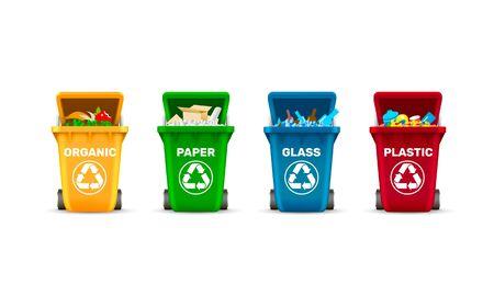 Abfalleimer, Abfallsortierung, organisches Plastikglas und Papier, eine Reihe von farbigen Behältern. Vektor-Illustration