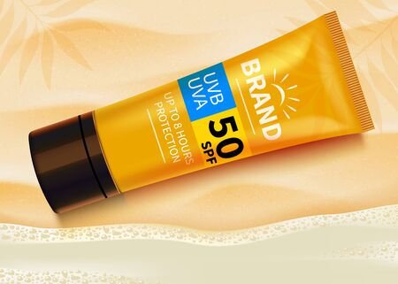 Sunblock ads template, sun protection cosmetic products design with moisturizer cream or liquid. Beach background. Vector design.