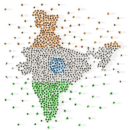 Large group of people in the shape of Indian flag. Republic of India. Vector illustration