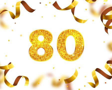 Anniversary Banner 80th, Gold Ribbon Fly. Vector illustration Vektorové ilustrace
