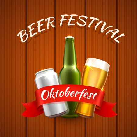 Oktoberfest beer festival, Celebratory cover of the event. Vector illustration