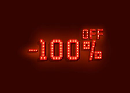 Neon 100 sale off text banner. Night Sign. Vector illustration Vectores