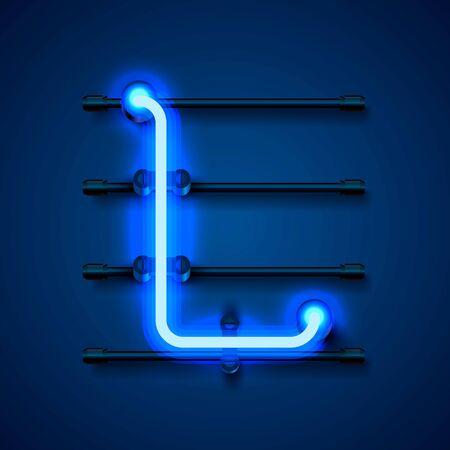 Neon font letter L, art design signboard. Vector illustration 向量圖像