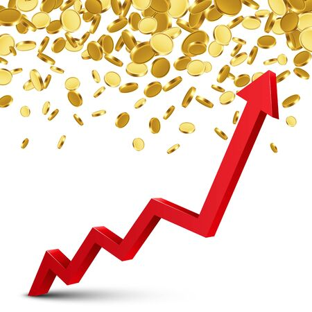 Finance growth chart arrow with gold coins on a transparent background. Vector illustration