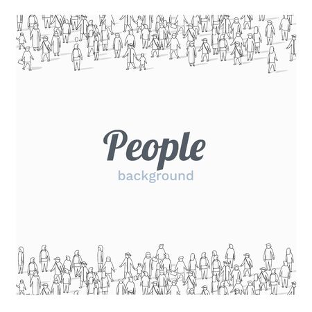 Large group of people on white background. Outline style. People communication concept. Vector illustration