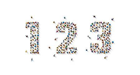 Large group of people in number one two three form. People font. Vector illustration Ilustração