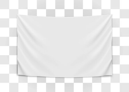 Hanging empty white flag. Blank flag concept. Vector illustration. Standard-Bild - 128084730