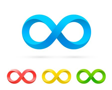 Symbol of infinity art info, color set collection. Vector Illustration