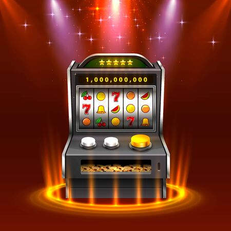 3d slots machine wins the jackpot, Isolated on glowing lamp background. Vector illustration