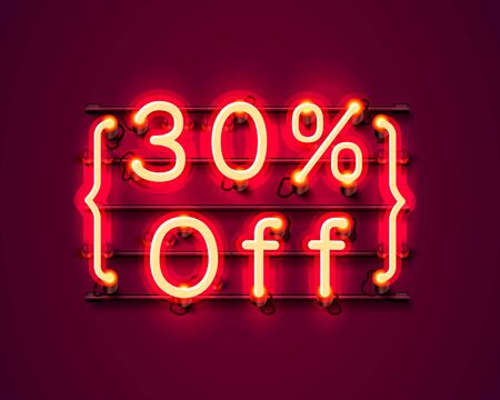 Neon frame 30 off text banner. Night Sign board. Vector illustration