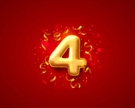Festive ceremony balloons, 4 numbers balloons. Vector illustration