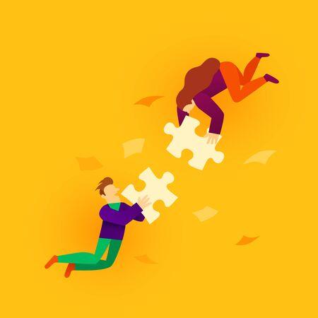 Due persone del fumetto in stile piatto che collegano gli elementi del puzzle. Concetto di affari, lavoro di squadra e partenariato. Illustrazione vettoriale
