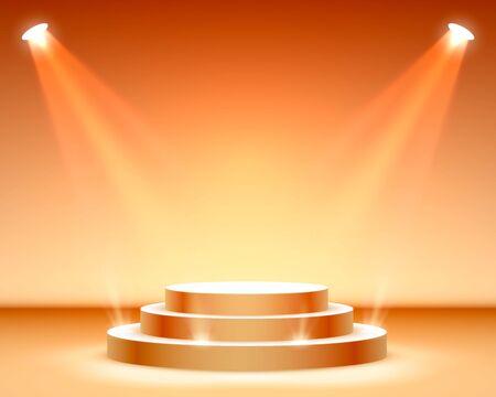Podio de escenario con iluminación, Escena de podio de escenario con ceremonia de premiación sobre fondo naranja, ilustración vectorial