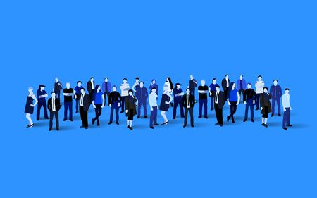 Big people crowd on blue background. Vector illustration.  イラスト・ベクター素材