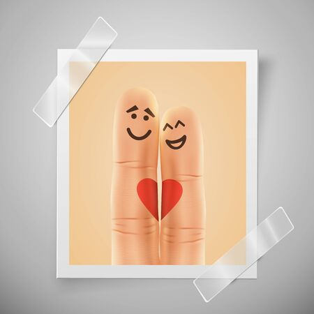 Modern colorful vertical love motive photo frame. Pair of happy fingers smiley in love. Photo session flyer or wedding invitations with selfie fingers. Vector illustration