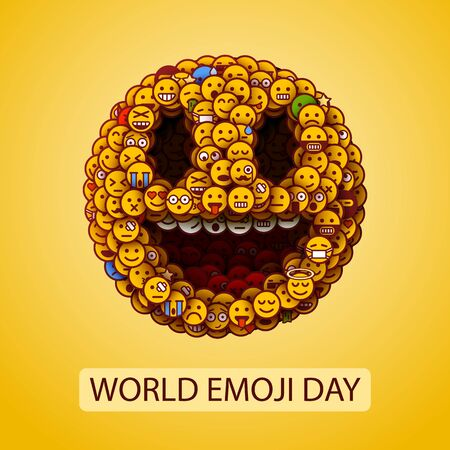 World emoji day. Smiley face made of many small smiles. Unusual and creative smile crowd concept. Vector illustration.