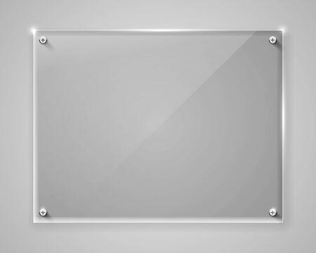 Realistischer horizontaler transparenter Glasrahmen mit Schatten. Moderner Hintergrund. Vektor-Illustration