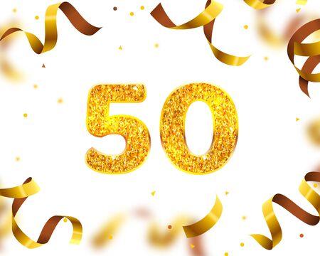 Bannière d'anniversaire 50e, mouche de ruban d'or. Illustration vectorielle Vecteurs