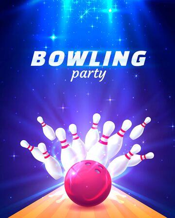 Bowling-Party-Club-Poster mit hellem Hintergrund. Vektor-Illustration