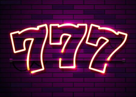 Neon 777 slots sign. Casino neon signboard. Online casino concept. Vector illustration