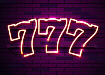 Neon 777 slots sign. Casino neon signboard. Online casino concept. Vector illustration Imagens - 128499285