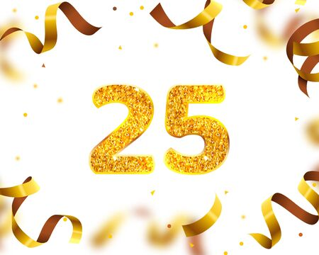 Anniversary Banner 25th, Gold Ribbon Fly. Vector illustration Stock Vector - 128499289