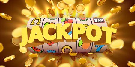 Spielautomat mit fliegenden goldenen Münzen gewinnt den Jackpot. Großes Gewinnkonzept.