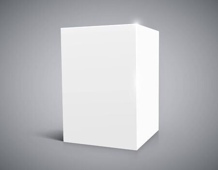 Blank white cube isolated on white background. Иллюстрация