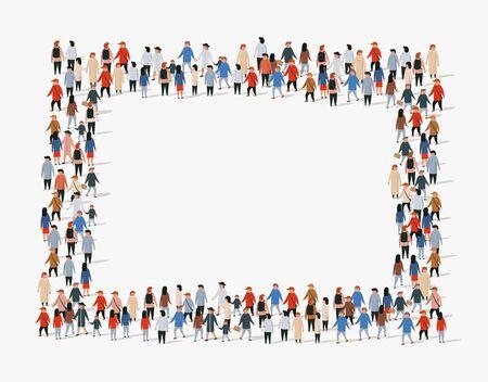 Grand groupe de personnes d'arrière-plan. Cadre de personnes. Illustration vectorielle