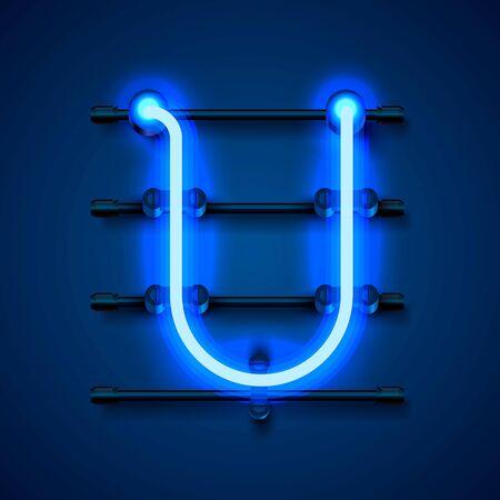 Neon font letter U, art design signboard. Vector illustration