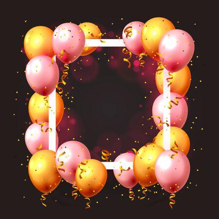 Festive balloon in an empty frame, color golden and pink. Vector illustration Illusztráció