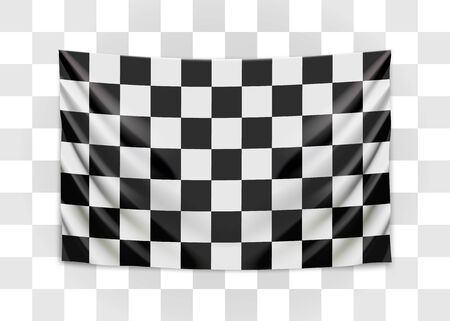 Hanging checkered flag. Race or winner flag concept. Vector illustration.