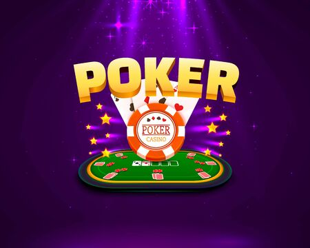 Poker table with the cards and chips on a purple background. Vector illustration