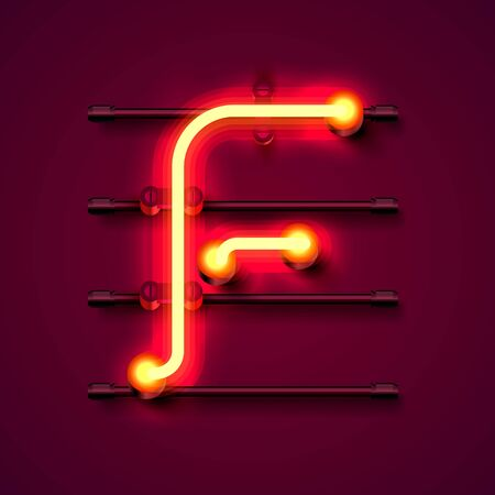 Neon font letter f, art design signboard. Vector illustration