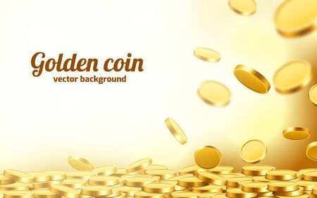 Falling coins, falling money, flying gold coins, golden rain. Jackpot or success concept. Modern background. Vector illustration 免版税图像 - 128570306