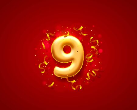 Festive ceremony balloons, 9 numbers balloons. Vector illustration