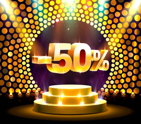 Podium action with share discount percentage 50, sale off. Vector illustration Ilustracja