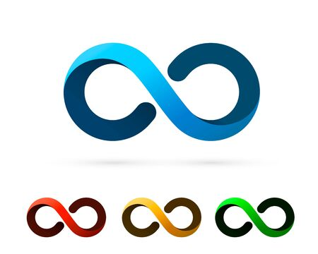 Symbol of infinity art info, color set collection. Vector Illustration Illustration