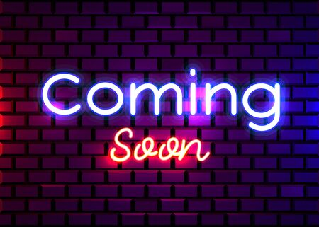 Coming Soon neon sign vector. Coming Soon Design template neon sign, light banner, neon signboard, nightly bright advertising, light inscription. Vector illustration.