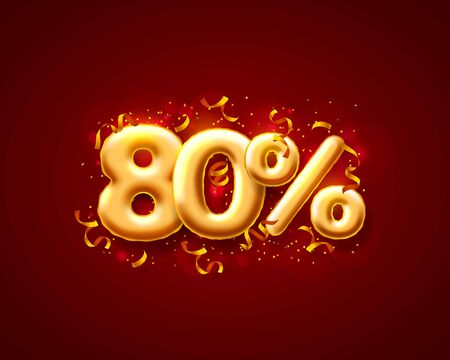 Sale 80 off ballon number on the red background. Vector illustration Ilustración de vector